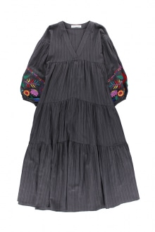 934fab57fac Embroidered Balloon Sleeve Maxi Dress Charcoal