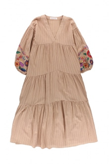 9f23cab2638 Embroidered Balloon Sleeve Maxi Dress Sand Pink