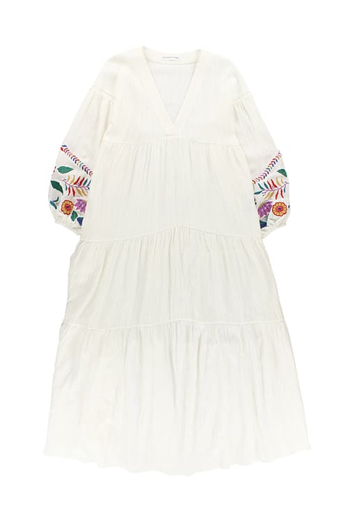 abfc8f727ca Embroidered Balloon Sleeve Maxi Dress White